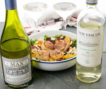 Errazuriz and Los Vascos Sauvignon Blancs with seared scallop salad