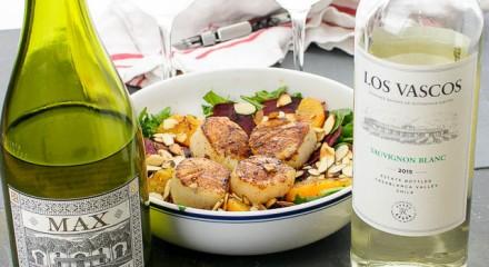Errazuriz and Los Vascos Sauvignon Blancs with seared scallop salad