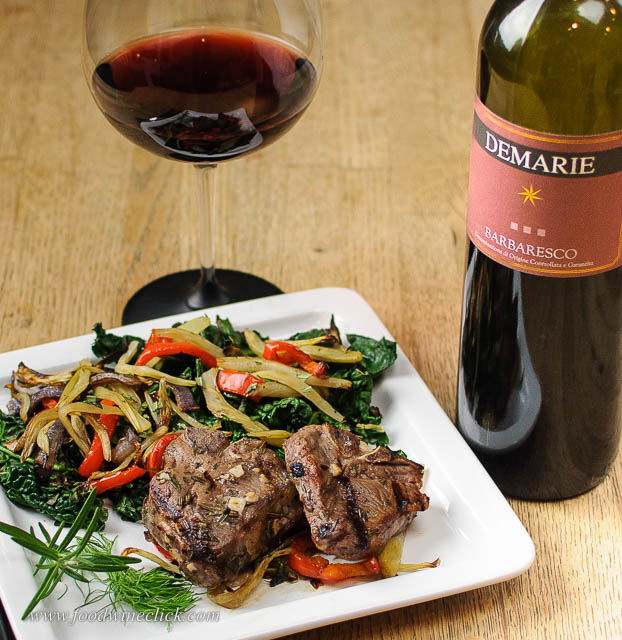 Barbaresco, lamb chops and grilled salad.