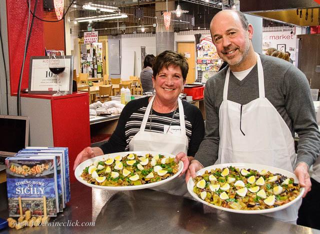 Chefs presenting eggplant caponata