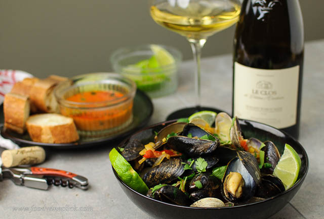 Muscadet sur lie with thai red curry mussels