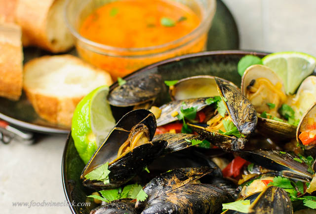 Mussels and clams are a great combination, and the Thai red curry sauce was a winner!
