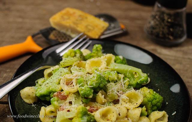 orecchiette pasta with broccoli and pancetta