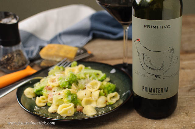 Puglian Primitivo is a nice choice with Broccoli Orrechiette