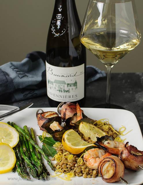 seafood brochettes with Baumard Savennieres