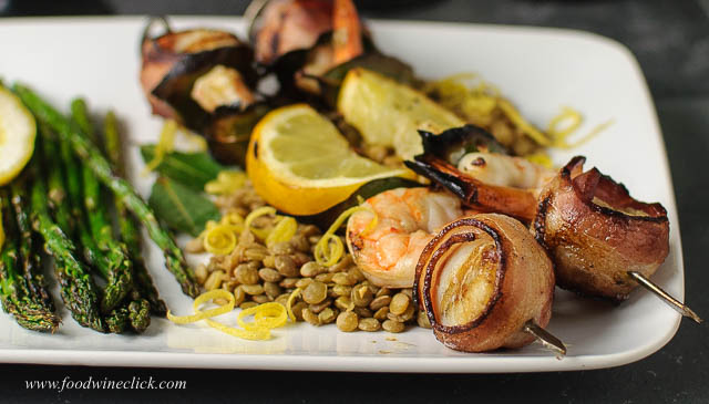 Seafood brochettes done on the grill