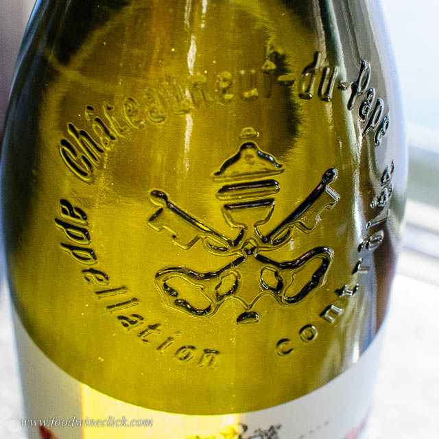 Embossed wine bottle from Chateauneuf-du-Pape