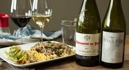 rabbit and white chateauneuf-du-pape