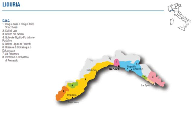 Liguria wine map courtesy of www.italianwinecentral.com