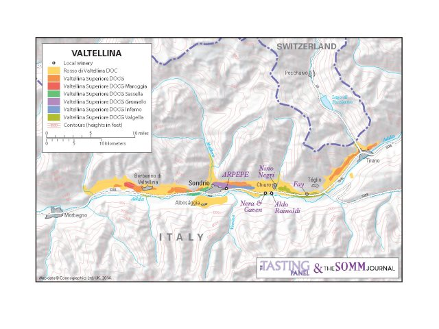 Valtellina map courtesy of Tasting Panel and Somm Journal.