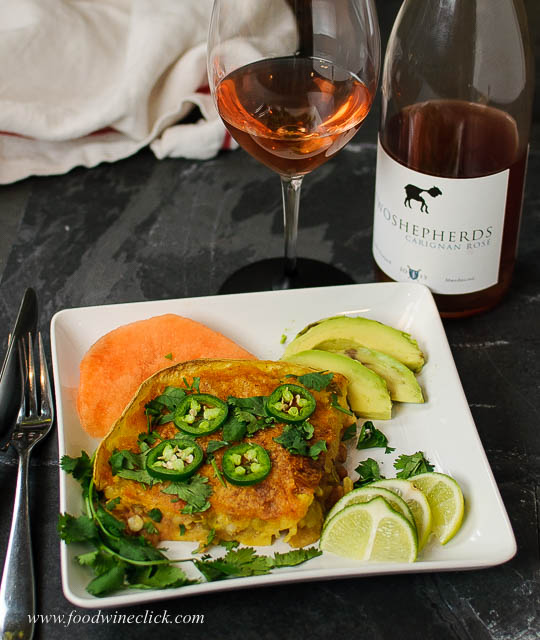 Two Shepherds rosé with spicy shrimp enchiladas