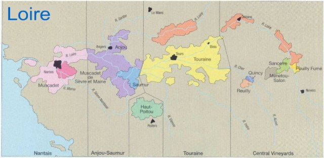 Loire wine map. Map courtesy of allfranceinfo.