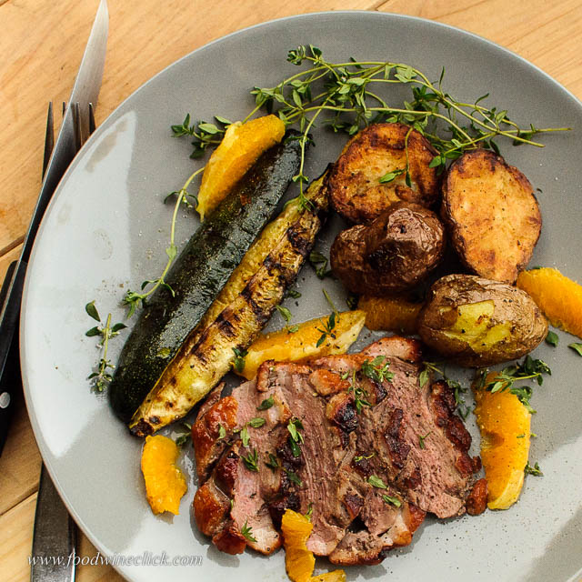 Reverse seared grilled orange duck