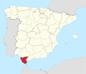Sherry comes from Jerez in Spain, pictured in red. (image courtesy of wikipedia.org)