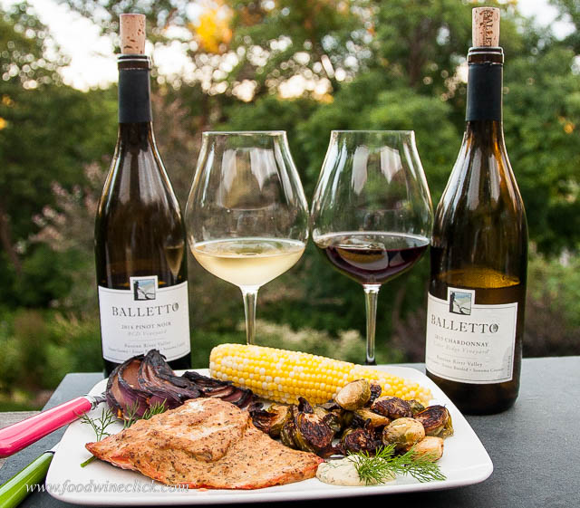 Balletto Chardonnay and Balletto Pinot Noir paired with salmon