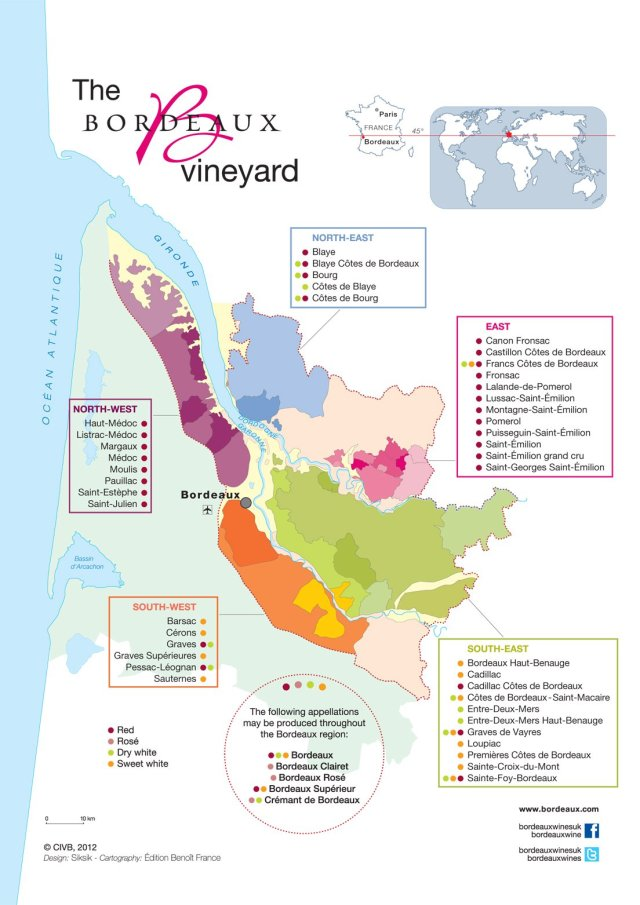 Medoc and Haut-Medoc take up the top left corner of the map. Courtesy of www.bordeaux.com