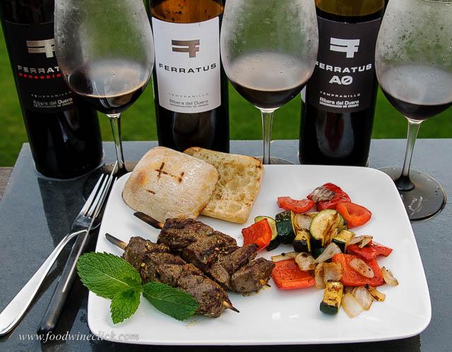 Ferratus Ribera del Duero with lamb kebabs