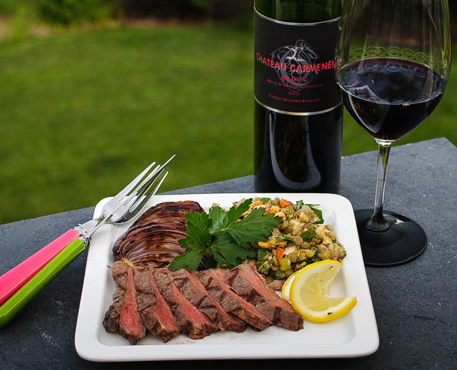 Chateau Carmenere, steak and lentil salad