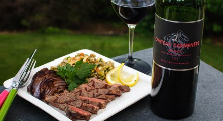 Chateau Carmenere Medoc with steak and lentil salad
