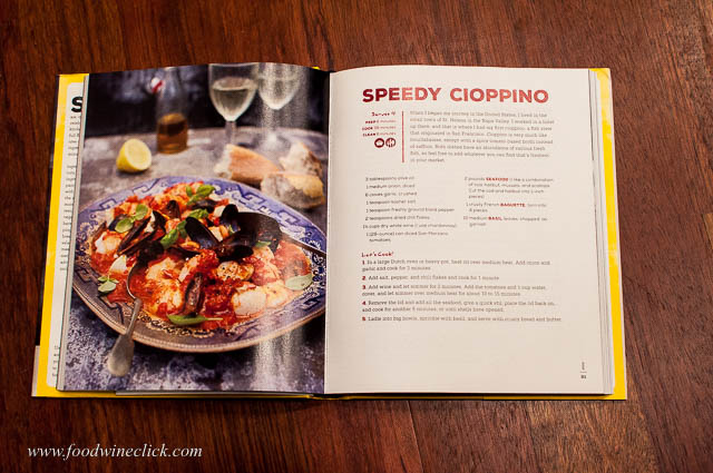 One page ingredient list and instructions, and a facing page with a beautiful photo.