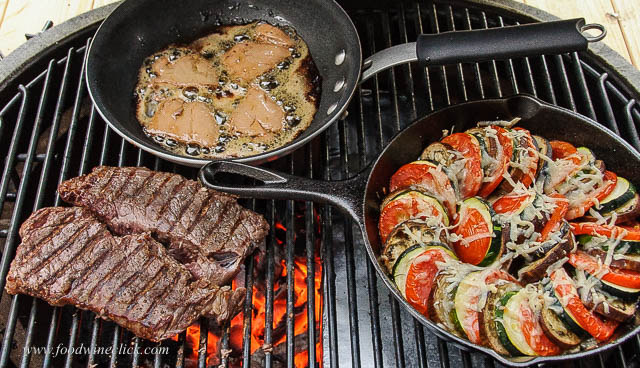Primo Grill with steak, vegetable tian and foie gras