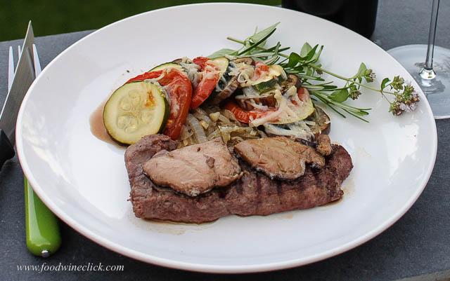 Steak with Les Trois Petits Cochon Foie Gras de Canard