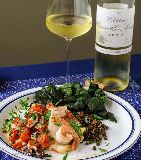 Graves Bordeaux wine with cod and shrimp