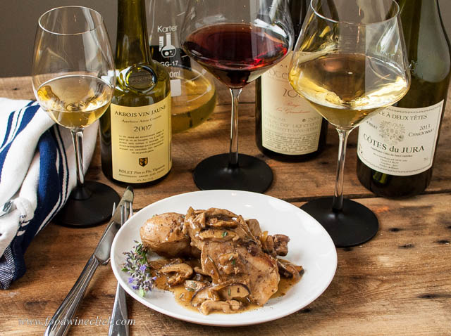 Coq au Vin Jaune served with wines of the Jura
