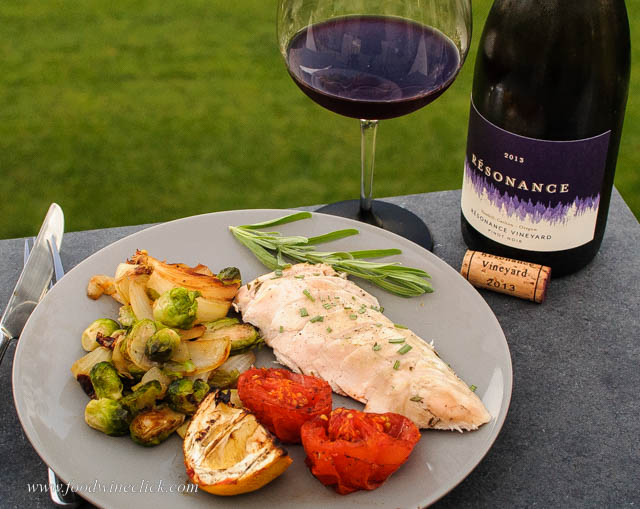 Résonance Vineyard Pinot Noir paired with grill roasted chicken breast