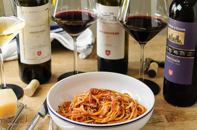 pasta amatriciana with wines from Castello di Magione