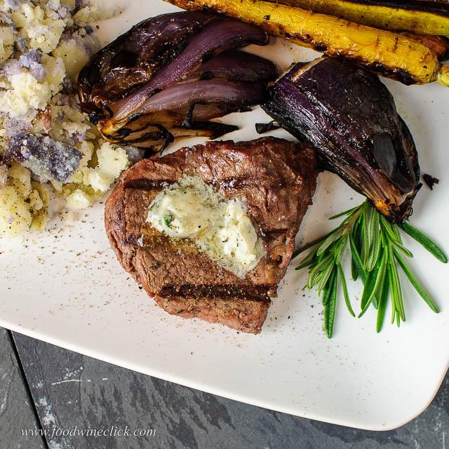 sunshine harvest farms tenderloin steak topped with rosemary blue cheese butter