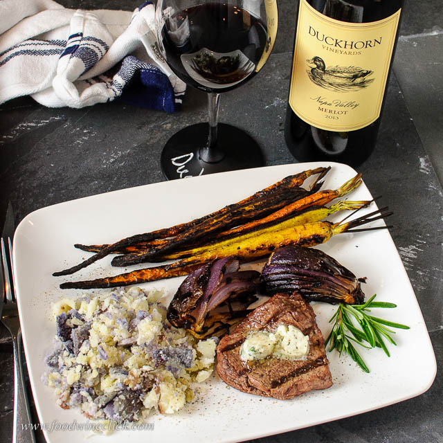 Duckhorn Merlot paired with steak, potatoes and roasted carrots