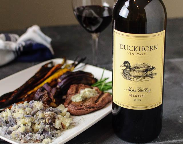 Duckhorn Napa Valley Merlot and steak