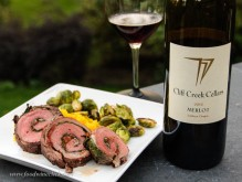 Cliff Creek Cellars Merlot with flank steak roulade