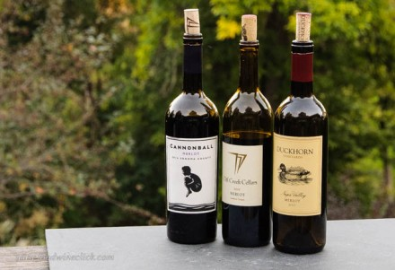 Merlot wine from Duckhorn, Cliff Creek and Cannonball
