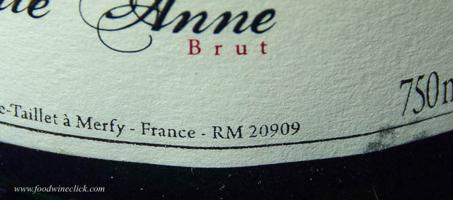 RM code on Champagne label