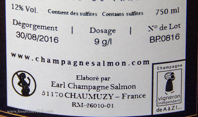 disgorgement and dosage on a Champagne label