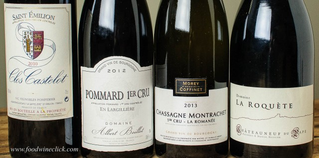 Bordeaux, Burgundy, and Rhone wines