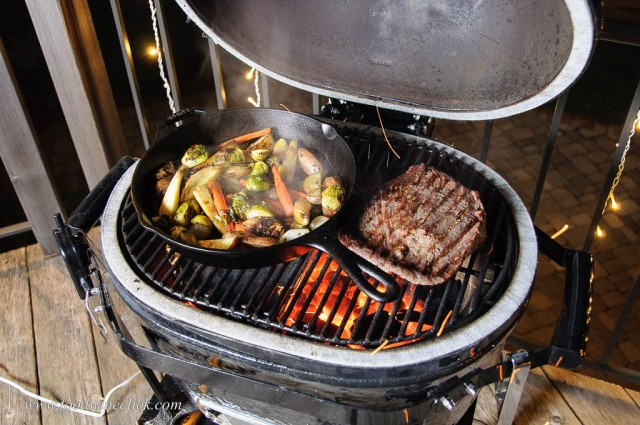 Primo Go grill with flank steak and roasted root vegetables.