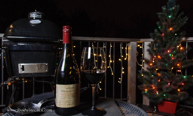 Memaloose wine with Primo Grill on the deck