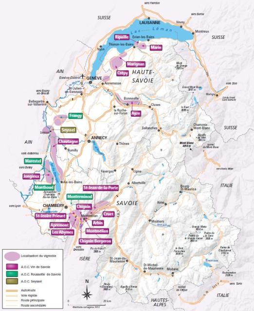 Savoie wine region map