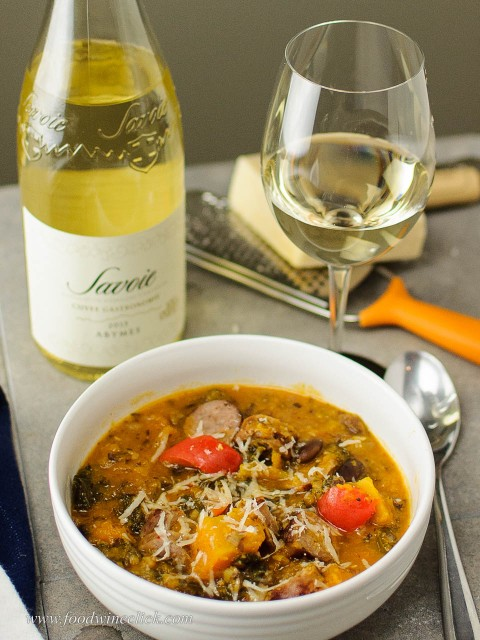 Jean Perrier et Fils Savoie wine with hearty winter soup