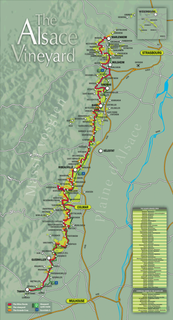 The Alsace region sits between the Vosges Mountains and the Rhine river.Alsace map courtesy of the Alsace wine route