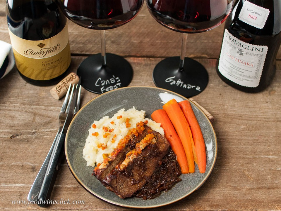 Smoked Brisket served with two Nebbiolo wines