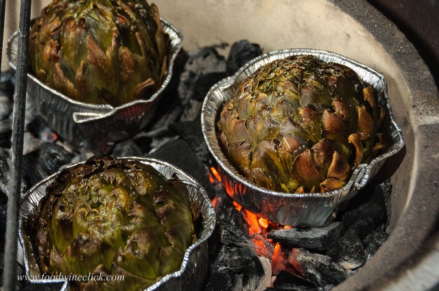 artichokes (carciofi) roasted in the coals