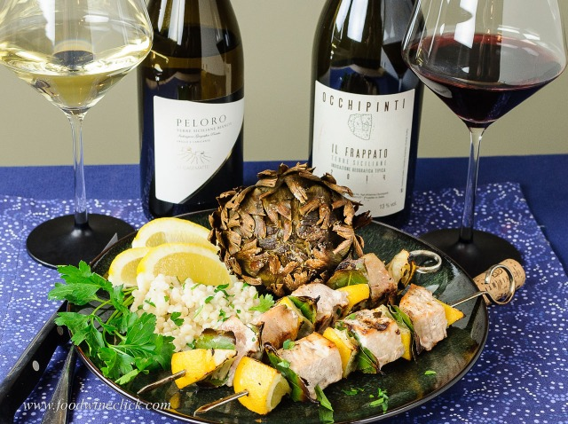 Occhipinti Il Frappato with swordfish skewers