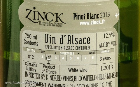 sweetness scale from a bottle of Alsace wine