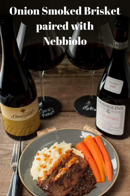 onion smoked brisket paired with Nebbiolo