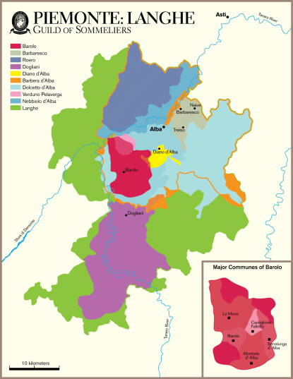 Map of the Langhe and Roero, courtesy of Guild of Sommeliers