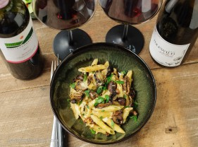 Rich and smoky, a mushroom pasta bake is a great pairing